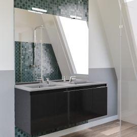 Meuble salle de bain PROLINE 140 avec plan double vasque gris béton - Gris brillant