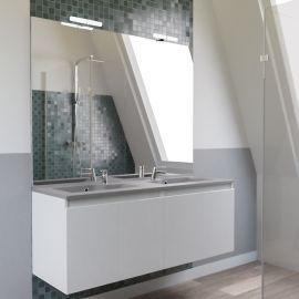 Meuble salle de bain PROLINE 140 avec plan double vasque gris béton - Blanc brillant