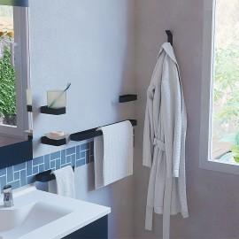 Accessoires salle de bain - 3 Portes serviettes, 1 porte savon, 1 porte verre et 1 accroche peignoir