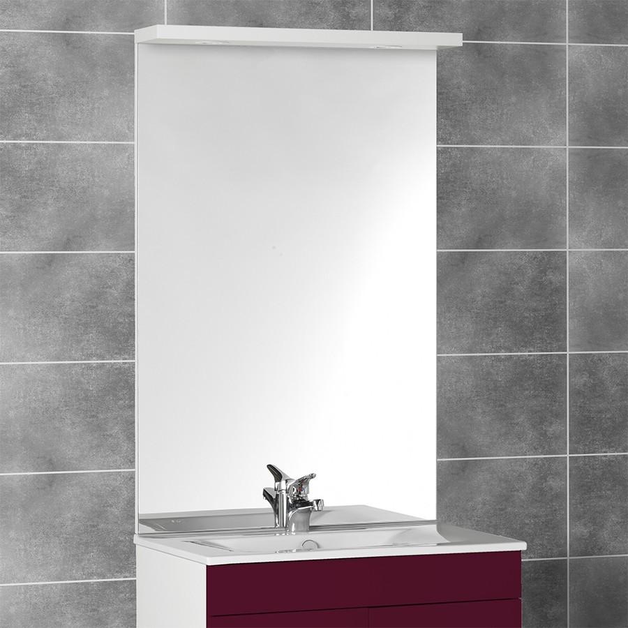 Miroir avec bandeau spots for Miroir 80 cm salle de bain