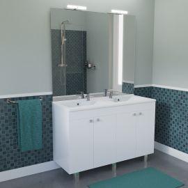 Meuble salle de bain ECOLINE 120 double vasque résine - Blanc brillant