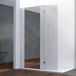 Paroi de douche fixe avec retour 8 mm BAYA - 100+40 cm et miroir