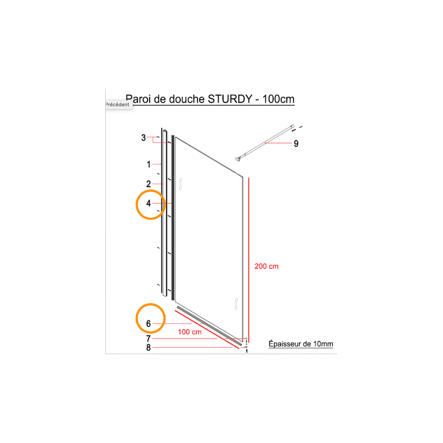 pour une /épaisseur de verre de 8 mm 100cm BuyLando - Joint de sol pour cabines de douche sans l/èvres Type-BD-8a parois de douche
