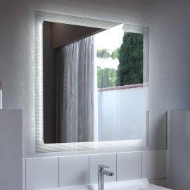 Miroir LED anti-buée avec contour strié CADREA - 70x80 cm - avec interrupteur sensitif