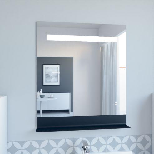 Miroir LED rétro éclairé ETAL - 70x80 cm - avec interrupteur sensitif et tablette noire