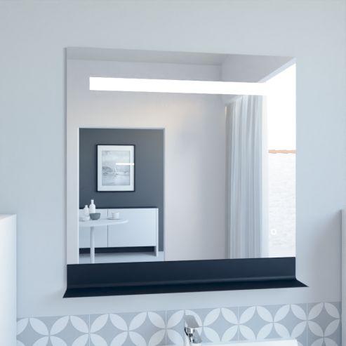 Miroir LED rétro éclairé ETAL - 80x80 cm - avec interrupteur sensitif et tablette noire