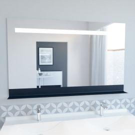 Miroir LED rétro éclairé ETAL - 120x80 cm - avec interrupteur sensitif et tablette noire