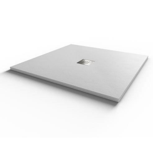 Receveur DIAMANT ardoise coloris blanc en résine allégée - 90*90 cm