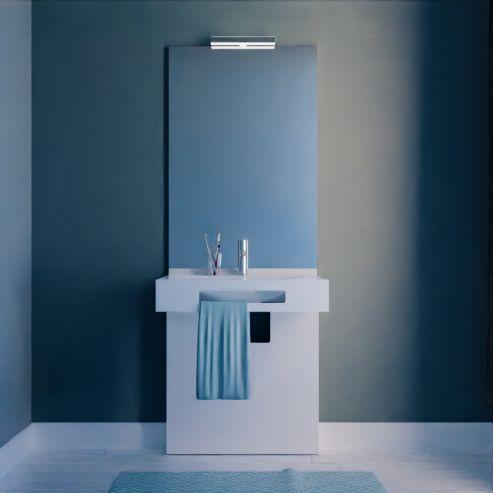 Caisson simple vasque PMR LEA 70 avec miroir - Blanc