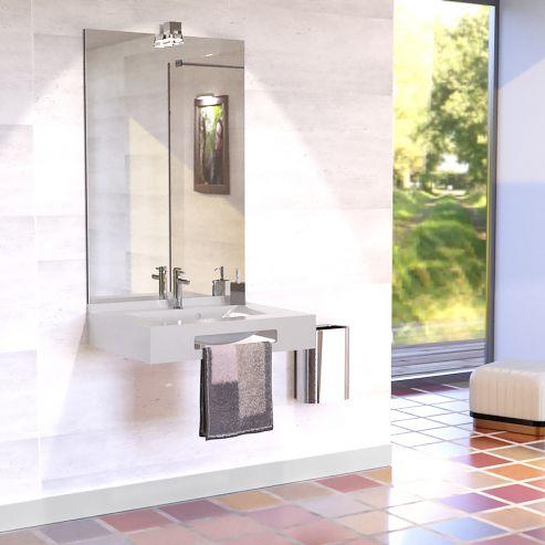 Vasque suspendue PMR LEA 70 avec miroir - Blanc