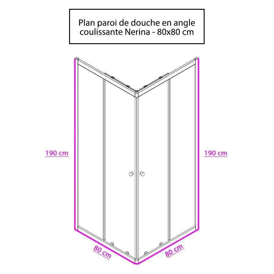 paroi de douche d 39 angle 6mm nerina 80 80cm 2 coulissants. Black Bedroom Furniture Sets. Home Design Ideas