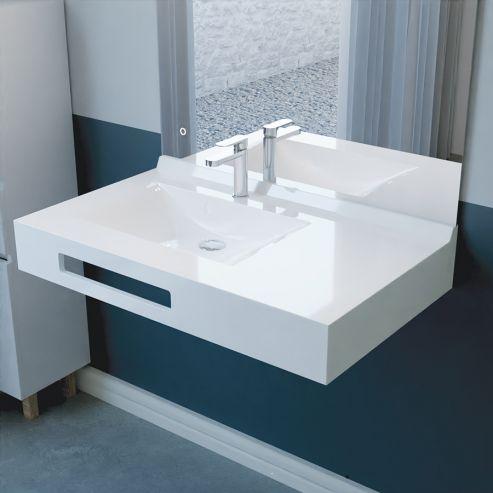 Vasque lavabo suspendu salle de bain 90 cm vasque déporté  à gauche EVIDENCE