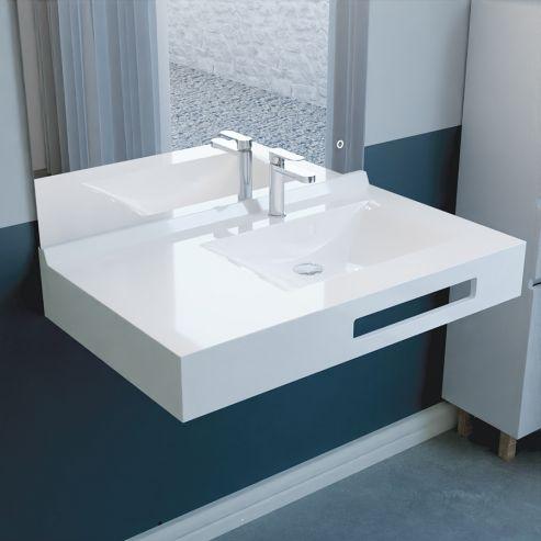 Vasque lavabo suspendu salle de bain 90 cm vasque déportée  à droite EVIDENCE