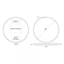 Miroir rond ONDE - 80 cm - avec interrupteur sensitif et éclairage intérieur LED