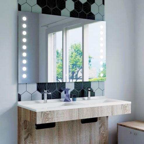Miroir LED anti-buée STARLED - 120x80 cm - avec interrupteur sensitif