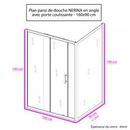 Paroi de douche d'angle 6 mm NERINA - 160*90cm