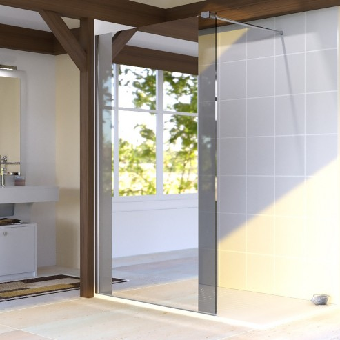 paroi de douche fixe 8 mm baya 100 cm avec miroir unesalledebain. Black Bedroom Furniture Sets. Home Design Ideas