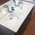 Meuble salle de bain ÉCOLINE 140 double vasque résine ? Blanc brillant