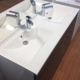 Meuble salle de bain ECOLINE 140 double vasque résine - Blanc brillant