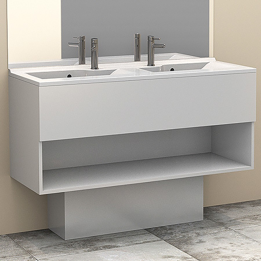 Cache tuyaux pour meuble salle de bain coloris weng - Cache tuyau salle de bain ...