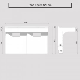 Caisson double vasque ÉPURE 120 - Blanc