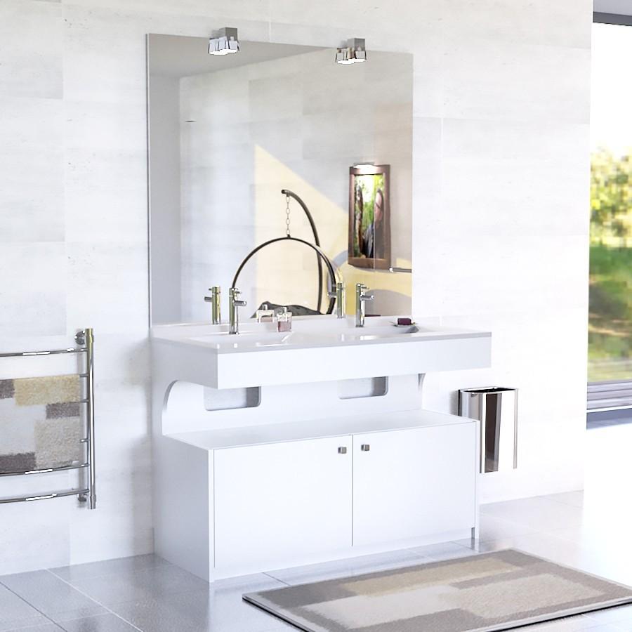 Meuble double vasque epure 120 blanc unesalledebain - Meuble vasque double ...